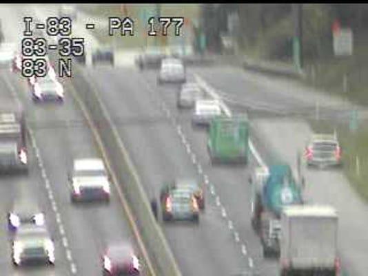 A crash on I-83 has shut down one lane of northbound traffic.