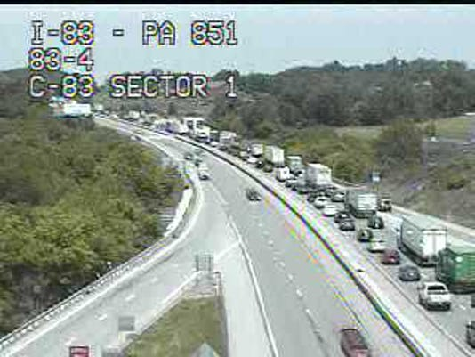 A camera at the Shrewsbury exit shows traffic backed up on I-83 north.