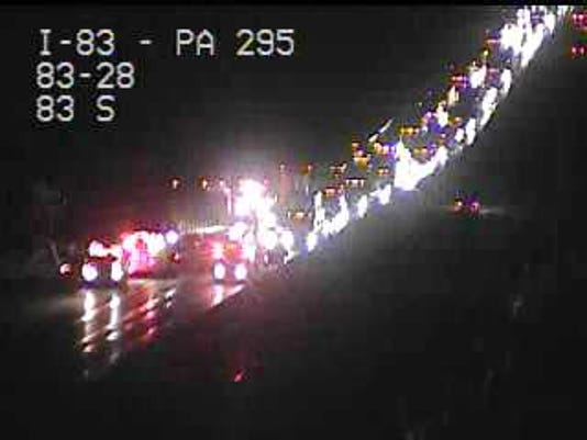 Cameras show a traffic backup on Interstate 83 Thursday night in the northbound lanes near Strinestown after a reported vehicle accident.