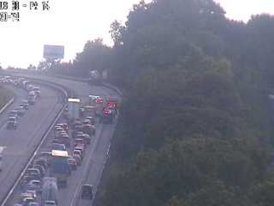 A camera image from Route 30 to Route 74 shows backed-up traffic because of the crash.