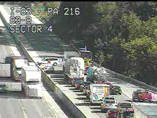 One lane of I-83 South is closed following a crash near Glen Rock.