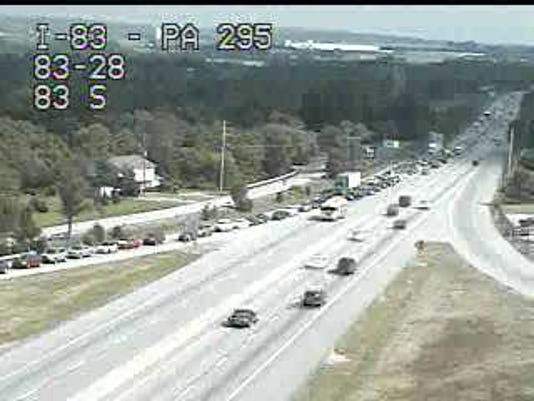 Traffic backed up on I-83 North near Newberrytown exit 32 after crash shuts down interstate.