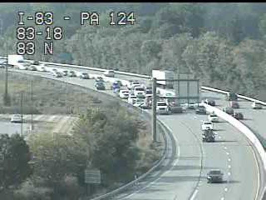 One person has been transported from the scene of a multi-vehicle crash on I-83 southbound, 911 confirmed.