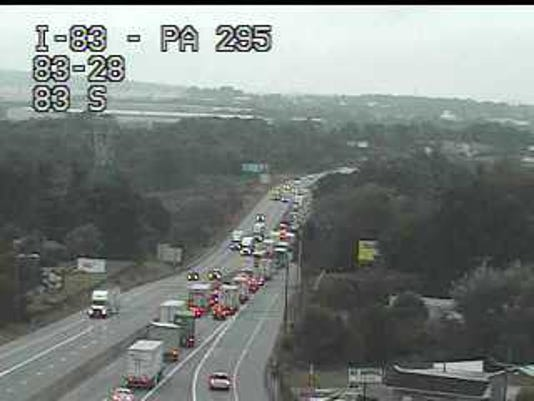 Traffic is backed up approaching a crash on I-83 south Thursday.