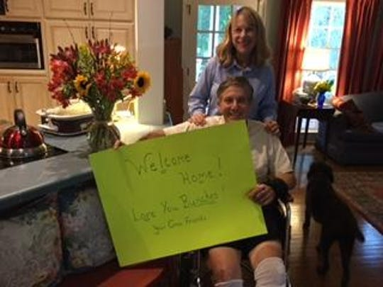 John Glasgow of North Carolina arrives home after a week in the hospital in Great Falls.