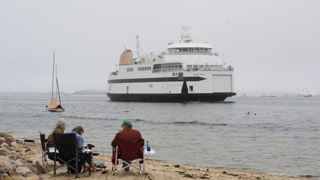WEST YARMOUTH -- 09/09/20 -- The Woods Hole passes by Bayview Street Beach and through the fog as it comes in to Hyannis from Nantucket.