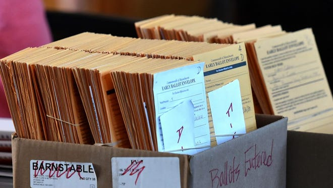 Early mail in ballots wait to be tabulated at Barnstable Town Hall on state primary election day Tuesday. Steve Heaslip/Cape Cod Times