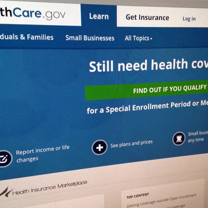 """FILE - This Sept. 15, 2014, file photo shows part of the HealthCare,gov Website in Washington. Republicans may be close to winning control of Congress and more votes to repeal """"Obamacare,"""" but GOP governors don't see the president's health care law going away. (AP Photo/Jon Elswick, File)"""