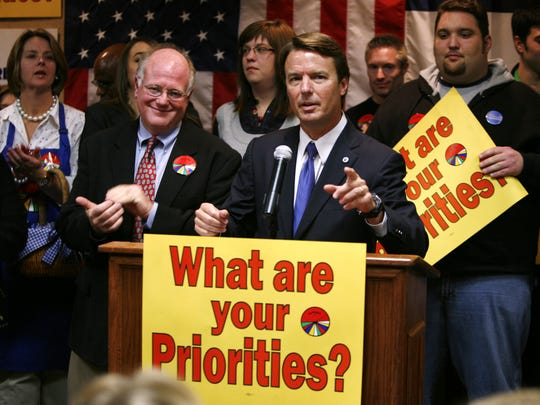 Democratic Presidential hopeful and former North Carolina Sen. John Edwards gestures while speaking to supporters after getting an endorsement from the group Caucus for Priorities on Nov. 9, 2007, in Des Moines.