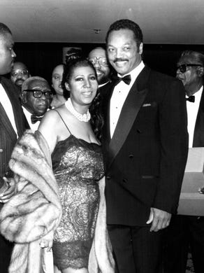 Aretha Franklin and the Rev. Jesse Jackson at the Franklin