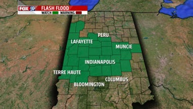 A flash flood watch is in effect for much of Central Indiana on Wednesday and early Thursday.