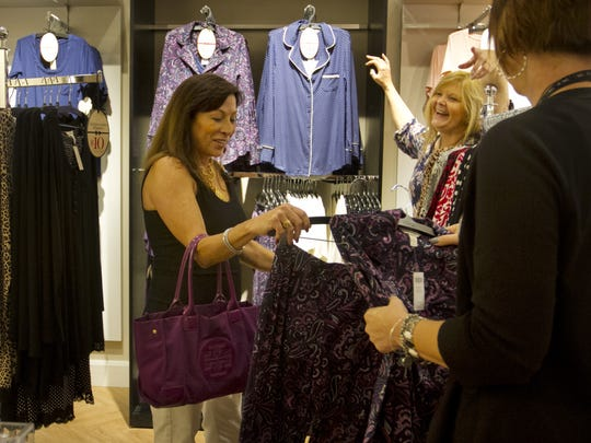 Carolyn Hornung, left, and Colletta Dunn shop at Soma at Bell Tower Shops in south Fort Myers.