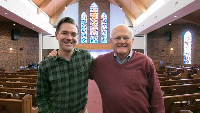 Cornerstone Evangelical Presbyterian Church pastors Chris Winans, left, and Richard Alberta stand in the nave of the Brighton church Thursday, Jan. 4, 2018. The Rev. Winans will take over duties as the Rev. Alberta retires.