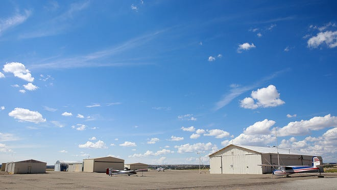 The Aztec City Commission on Monday will discuss whether to approve a contract to reconstruct a terminal apron at the Aztec Municipal Airport, pictured here on Friday.