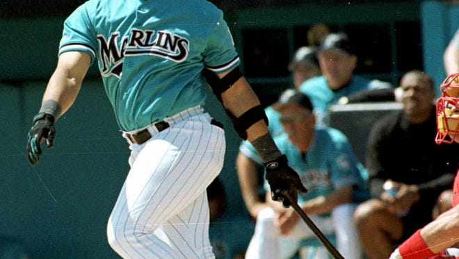 Gary Sheffield watches a two-run home run sail out of Space Coast Stadium on March 24, 1998, while playing for the Florida Marlins. Sheffield will be inducted into the Florida Sports Hall of Fame on Nov. 7 in Pensacola.