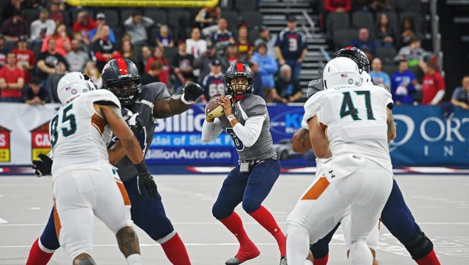 Sioux Falls Storm quarterback Lorenzo Brown (8) looks for an open receiver during a game against the Arizona Rattlers Friday, Feb. 17, 2017, at the Denny Sanford Premier Center in Sioux Falls.