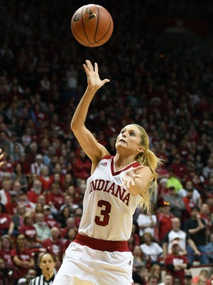 Indiana Hoosiers guard Tyra Buss (3) attempts a shot against Virginia Tech at Simon Skjodt Assembly Hall in Bloomington, Ind., on Saturday, March 31, 2018.