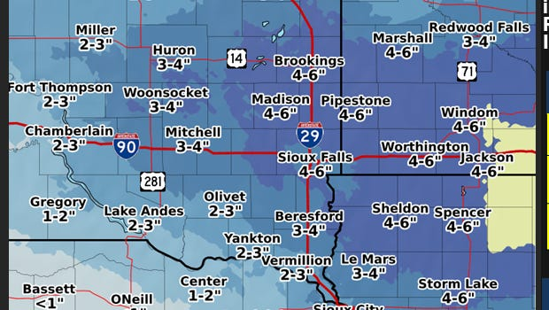 Snow forecast from the NWS
