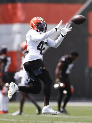 Browns safety Karl Joseph runs through a drill during practice on Aug. 14.