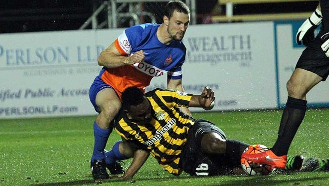 FC Cincinnati defender and captain makes a play on the ball during the March 26, 2015, 1-0 loss at Charleston Battery.