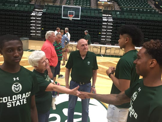 CSU men's basketball players greet fans during Tuesday