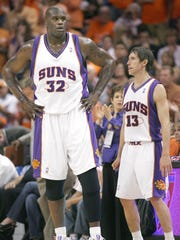 Shaquille O'Neal and Steve Nash during a 2008 game against the San Antonio Spurs.