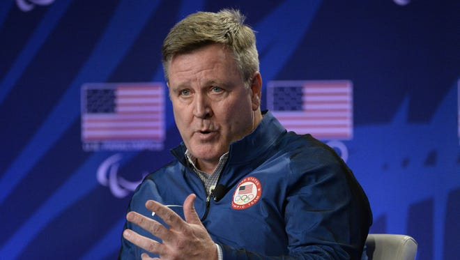 USOC CEO Scott Blackmun speaks during a news conference at the 2016 Team USA Media Summit in Los Angeles on March 7, 2016.