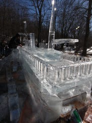 An ice sculpture of Robert Fulton's steamboat the Clermont