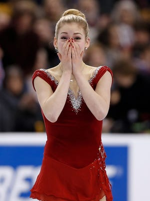Gracie Gold reacts after finishing the  short program in the U.S. Figure Skating Championships at TD Garden in Boston on Thursday.