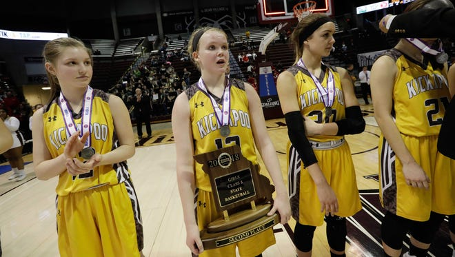 The Kickapoo Lady Chiefs lost to Kirkwood in the Class 5 Championship game. Hannah Collins, center, holds the second-place trophy as medals are awarded.