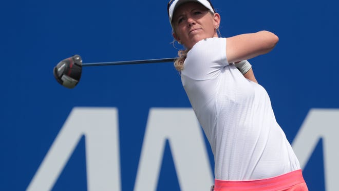 Amy Olson tees off on 1 during the 3rd round of the ANA Inspiration on Saturday, March 31, 2018 at Mission Hills Country Club in Rancho Mirage.