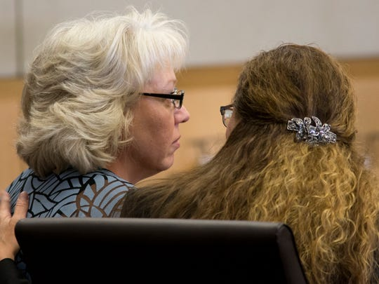 Debra Milke (left) with her attorney, Lori Voepel, during a hearing, March 23, 2015, in Marcopa County Superior Court in Phoenix.