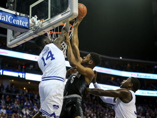 Seton Hall Pirates forward Ismael Sanogo (14) blacks