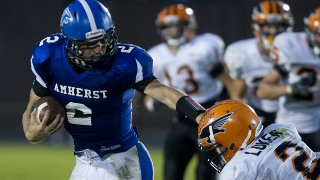 Amherst quarterback Garrett Groshek was named the offensive player of the year in the Central Wisconsin Conference-8 for the second straight year.