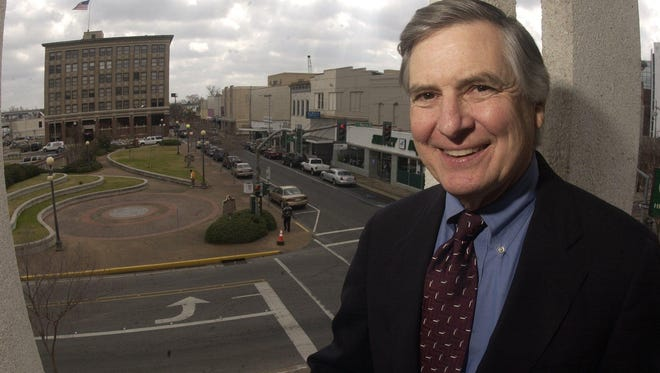 Ned Randolph is shown in this 2003 photo when he was in his fifth and final term as mayor. The mini-park and Third Street can be seen in the background. Randolph died Tuesday morning at the age of 74.