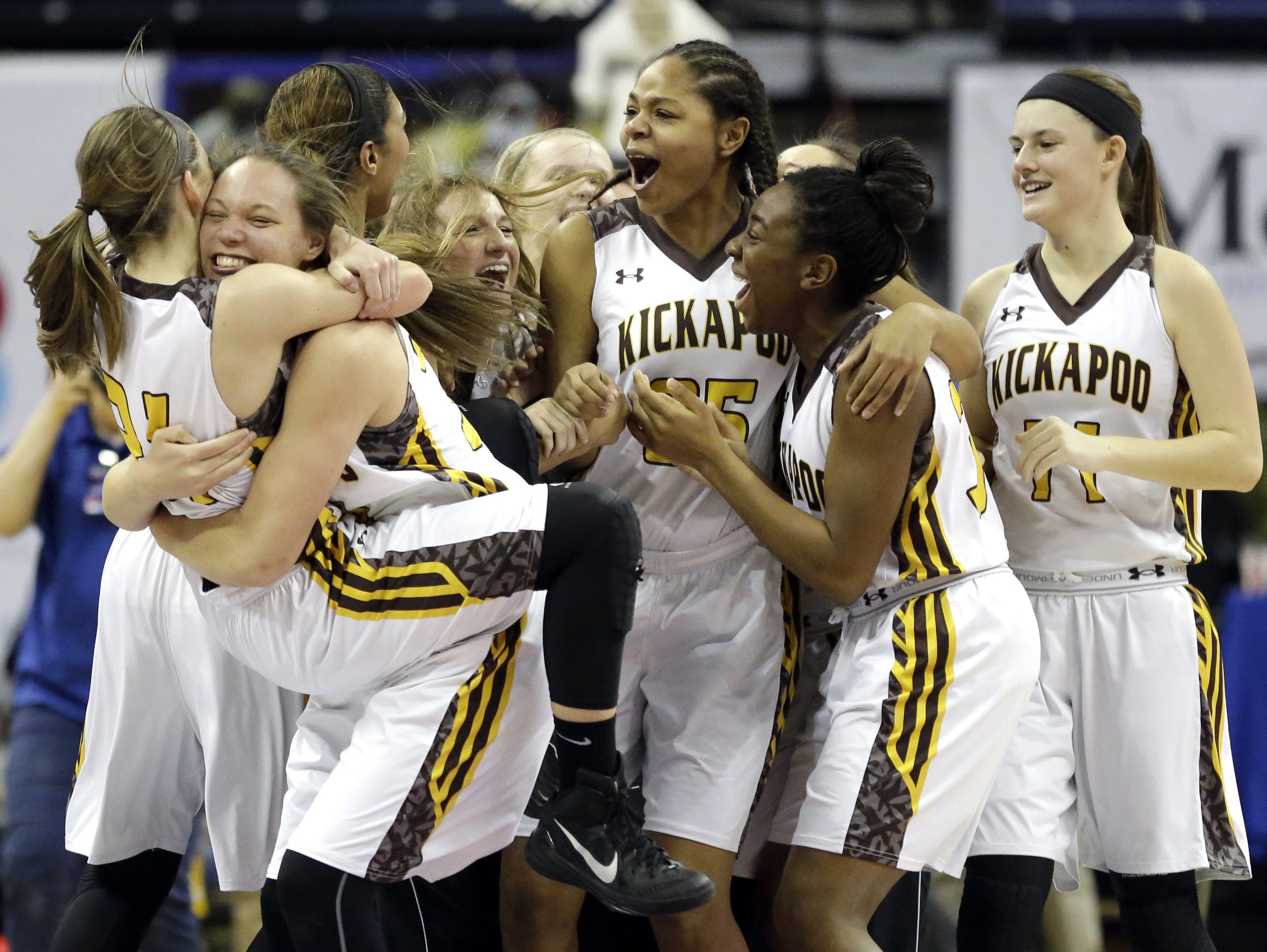 Kickapoo celebrates after defeating Kirkwood in the Class 5 state championship game.