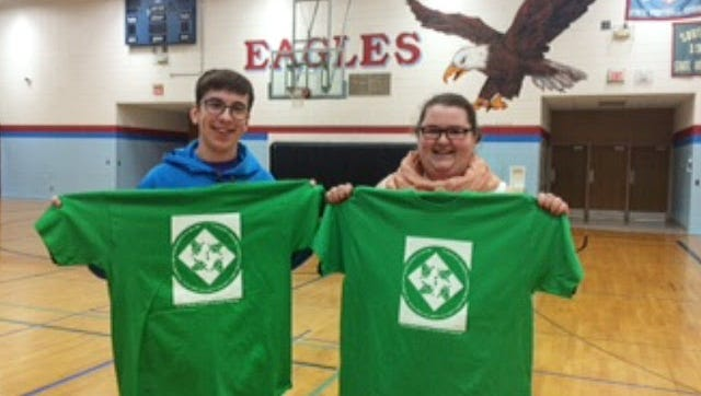 Southern Door High School art students Gunner Kroening and Brooke Dantoin created the designs on tshirts that will be worn by people in Door County during the month of May to raise awareness about mental health and suicide prevention.