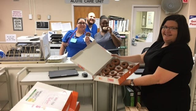 Elbert Memorial Hospital staff members shown from left are Amparo Deleon, Jeremiah Hocutt, Lakeisha Cobb and Kim Rice.