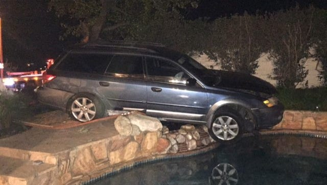 In December, an alleged drunken driver crashed a vehicle through a retaining wall and almost into the backyard swimming pool at the Thousand Oaks home of Cheryl and David Dumais, who live at the end of Avenida de Los Arboles. It was the third alleged drunken-driving crash into their property since July.