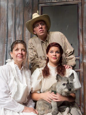 """Howell High School is presenting """"The Wizard of Oz"""" with, from left, Luann Haskins, Rod Bushey, Maggie Grace and Sky the dog."""