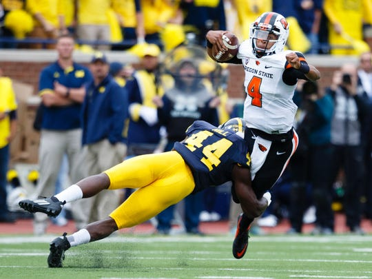 OSU quarterback Seth Collins during the 35-7 loss at Michigan.
