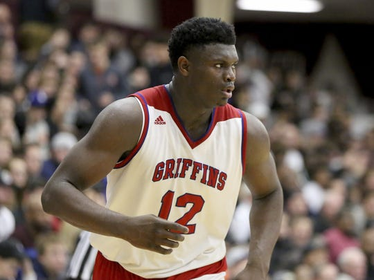 Spartanburg Day's Zion Williamson #12 in action against Chino Hills during a high school basketball game at the Hoophall Classic, Saturday, January 13, 2018, in Springfield,MA. Chino Hills won the game.