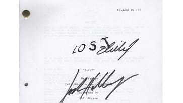 This script is signed by Josh Holloway, Evangeline Lilly and Matthew Fox.
