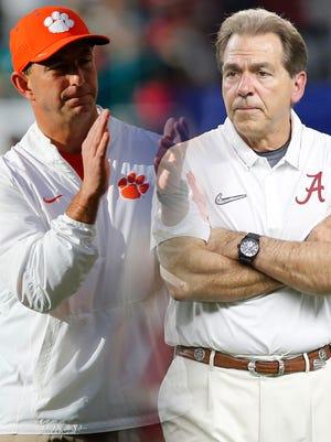 Clemson coach Dabo Swinney and Alabama coach Nick Saban