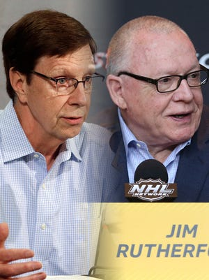 Predators GM David Poile (left) and Penguins GM Jim Rutherford (right) have been around the NHL for a long time.