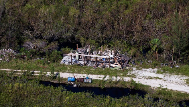 Aerial view just outside of Everglades City on Saturday, Sept. 16, 2017, after Hurricane Irma.