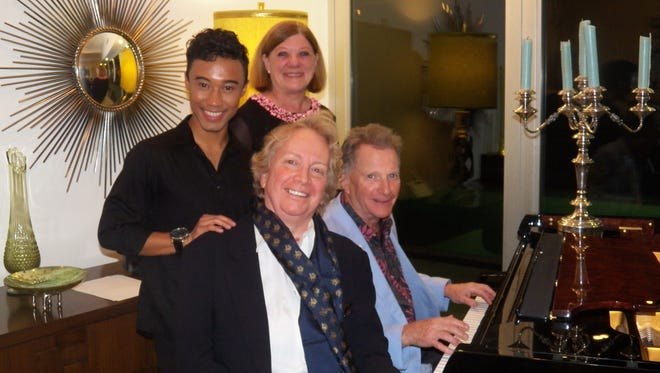 Back row - pianist Thaddeus Jean-Philippe Tario, hostess Elizabeth Smalley; front row - Waring artistic director John Bayless and host Garth Gilpin