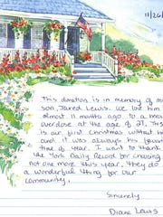 The note Diane Lewis sent with her contribution to