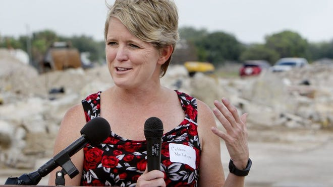 GEORGE TULEY/SPECIAL TO THE CALLER-TIMES Corpus Christi City Council woman Colleen McIntyre speaks during a ceremonial groundbreaking for the demolition and reconstruction of Glenoak Apartments, a 68-unit affordable housing complex, on Thursday. McIntyre has voiced strong support for the project.