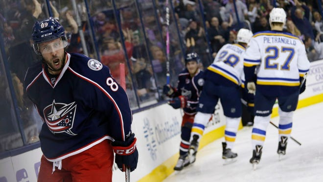 Blue Jackets' Sam Gagner celebrates a goal against the Blues during the second period.